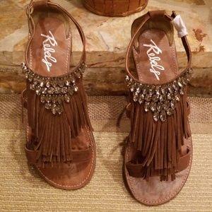 Fringe & Rhinestone Sandals